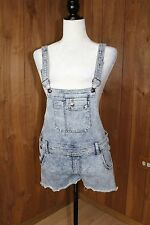 Overall Bib Shorts Suspenders Acid Wash Stretch Woman's Size 9/10 Large