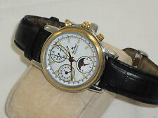 "JEAN MARCEL SOLID 18K.& S.S. W/SWISS VALJOUX 7751 MOVEMENT"" HARD TO FIND NICE"