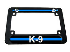 Thin Blue Line Paw Print - Police K9 Motorcycle License Plate Tag Frame