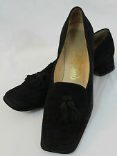Salvatore Ferragamo Black Suede Tassels Loafers Italy Chunky Heel Size 8 3A