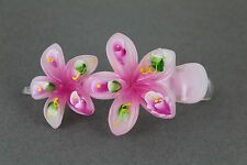 Pink painted plumeria hair clip hawaiian flower barrette alligator claw clamp