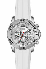 Invicta Pro Diver Chronograph Silver Dial White Silicone Mens Watch 20295