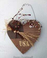 Americana PRIM & SHABBY ~ USA HEART FLAG WALL HANGING DECOR Buttons & Berries