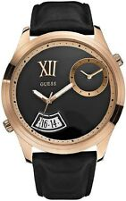 NEW GUESS Men's U0260G2 Trendy Oversized Black & Rose GoldTone Leather Watch