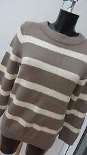 BODEN brown & cream 100% WOOL ladies Size 14 jumper in VGC  (99)