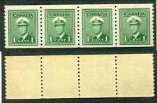 MNH Canada 1 Cent KGVI Perf 9 1/2 War Coil Strip of 4 #278 (Lot #8796)