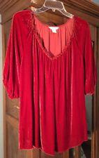 sundance catalog xl Velvet Red Women's Top Shirt 3/4 Sleeve