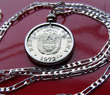 """1972  PANAMA PROOF Coin BEZEL PENDANT on a 30"""" .925 STERLING SILVER CHAIN"""