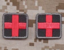 MEDIC CROSS SQUARE EMT EMS ARMY MEDICAL VELCRO® BRAND FASTENER 2 MINI PATCH