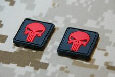 3D PVC Punisher Skull Patches Red Black Morale Patch Hook & Loop Backing