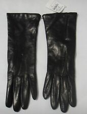 New Neiman Marcus Long Black Leather/Cashmere Lined Ladies Gloves Size 7, Italy