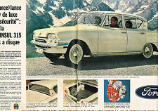 PUBLICITE ADVERTISING 114  1961  FORD  CONSUL 315   ( 2pages)