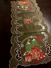 "16x36""Embroidered Christmas Tablecloth Tree Gift Table Runner Holiday Home Decor"