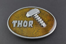 THOR HAMMER GOLDEN BROWN AMBER BELT BUCKLE AVENGERS  MARVEL COMIC BOOK MOVIE