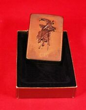 Vintage 1992 G/VIII Zippo Lighter USA Brass 3d Rodeo Cowboy Novelty Collectible