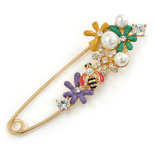 Multicoloured Enamel Flowers, Bee, Simulated Pearls Safety Pin Brooch In Gold To