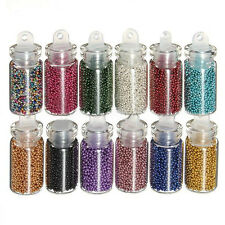 12 Bottle Set Colorful Nail Art Caviar Manicures Pedicures Ball Beads Decoration