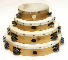 """LOT of 4 AP HAND MADE WOOD TAMBOURINES GOAT SKIN HEADS 6""""-8""""-10""""-12"""" GREAT SOUND"""