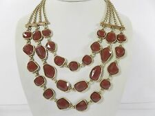 Lucky Brand Gold-Tone Red Stone Multi-Layer Drama Necklace