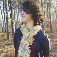 The Spring Bouquet - Handknit Yellow, Pink, and Green Ruffle Fashion Scarf