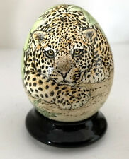 Hand Painted Goose Egg ~ Leopard~ by California Artist Anne Easley