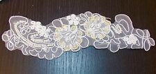 ivory bead and sequin white bridal wedding embroidery lace applique motif