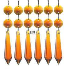 10 Amber Chandelier Glass Crystals Lamp Prisms Parts Hanging Drops Pendants 55mm