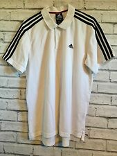 ADIDAS MENS WHITE POLO SHIRT TSHIRT GOLF RUNNING SPORT GYM WEAR