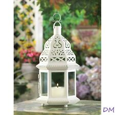 8 Creamy White Moroccan Style Lanterns Clear Glass Panels Wedding Centerpieces