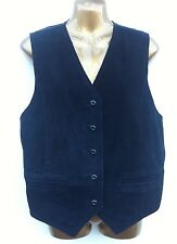 BLACK SUEDE WAISTCOAT Size Medium Fits UK 12 - 14 WORN ONCE