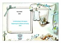 CHRISTENING FOR A BOY CAKE TOPPER A4  EDIBLE ICED ICING FROSTING PERSONALISED