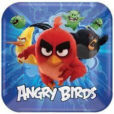 Angry Bird 8 placa de papel cuadradas grandes Chicos Fiesta de Cumpleaños tabla de alimentos Colorido