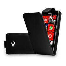 BLACK LEATHER FLIP CASE COVER FOR NOKIA LUMIA 720 + FREE SCREEN PROTECTOR