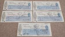 5 x Vintage 1934 Barclays Bank Used Cheques / Checks