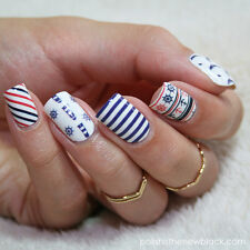 2 Sheets/Set Anchor Stripe Nail Art Water Decals Transfer Sticker for DIY BP-W07