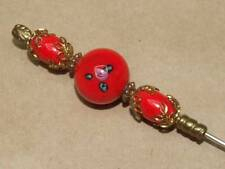"""VTG Candy Apple Red Murano Art Glass & Filigree End Cap Hat Stick Pin Brooch 8"""""""