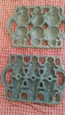Vintage Cast Iron Gingerbread Man Cookie Mold lot of 2 snowman cornbread antique