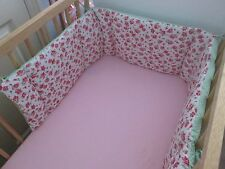Cushi cots cot bumper girls rose pink with fresh green new