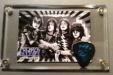 KISS Elder era group image card/ Ace Frehley guitar pick from last tour display!