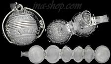Sterling Silver Aztec Sun Calendar 6-Picture Photo Ball Locket Pendant