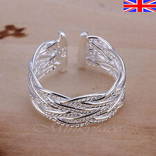 Silver 925 Sterling Adjustable Silver Ring Weave Rope Thumb Finger Band Free Bag