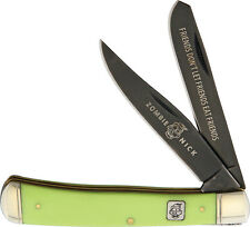 "ZOMBIE NICK 4 1/8"""" CLOSED TRAPPER STYLE KNIFE w GREEN HANDLES, RR1452"