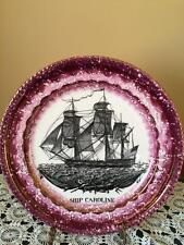 Grays Pottery Pink Purple Lustre Sunderland Style Plate / Charger Ship Caroline