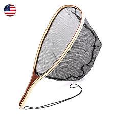 Fly Fishing Landing Net Wooden Handle Mesh Net Fishing Landing Net USA Seller