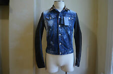 DSQUARED² WASH BLUE DENIM & BLACK LEATHER JACKET & LEOPARD PONY HAIR COLLAR S 48