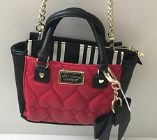 BETSEY JOHNSON Mini Satchel  Black & White Red Heart Purse Crossbody Bag