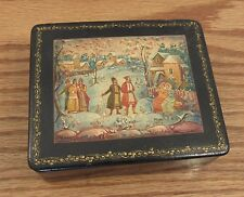 Vintage Russian lacquer box fairy tale snow scene signed/titled Mstera AS IS