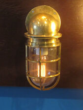 VINTAGE BRASS BULKHEAD LIGHT- SHIP SALVAGED- RESTORED, REWIRED & READY TO USE