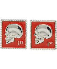 Paul Smith Cufflinks - Red Enamelled Skull Stamp Metal/NEW & BOXED/UK Seller