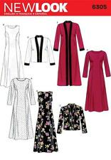 NEW LOOK SEWING PATTERN MISSES' DRESS LONG OR SHORT JACKET SIZE  10 - 22 6305 A
